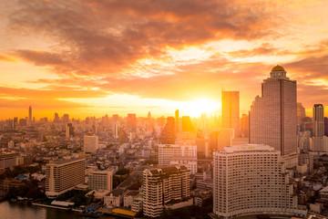 Fototapeta Bangkok city skyline with sunrise time.