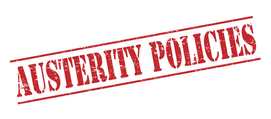 austerity policies red stamp on white background Wall mural
