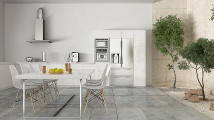 Minimalistic white kitchen with inner garden, minimal interior d