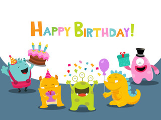 Cute Birthday Card With Monster Characters