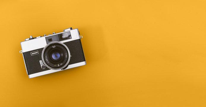 Retro camera header with copy space