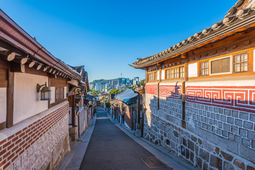 Time lapse of Bukchon Hanok Village in Seoul , South Korea