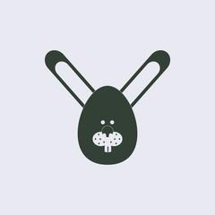 Vector illustration of animals on stylish background bunny face