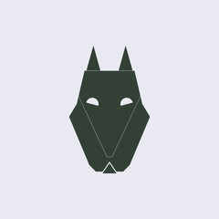 Vector illustration of animals on stylish background wolf icon