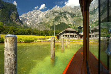 View to the Watzman groupe from the lake of Königsee, Berchtesgaden National Park, Germany