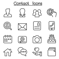 Contact icons set for social network in thin line style