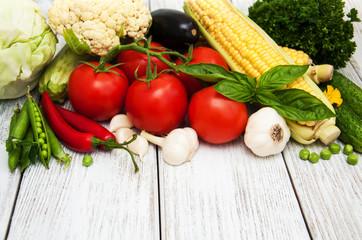 fresh vegetables as a frame