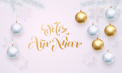 Spanish New Year Feliz Ano Nuevo decoration golden white greeting