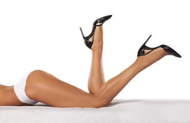 pretty, nice cared feminine legs in high heels