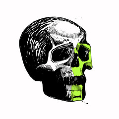 vector skull, sketch, hand draw, pen, ink, relaxed, blots, black and green, suitable for prints on clothing, t-shirt, Build, bannner or poster
