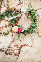 Floral round wedding crown(wreath) with rose flowers