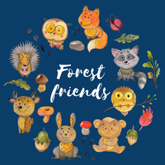 Watercolor pattern with animals Cute forest friends