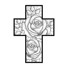 Vector drawing of Latin cross with dotted rose flower and leaves in black isolated on white background. Illustration of symbolic geometry and floral elements  in dotwork style for tattoo design.
