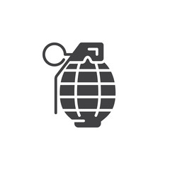 Fragmentation grenade icon vector, filled flat sign, solid pictogram isolated on white. Symbol, logo illustration