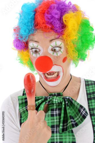 Clown In Kostum Zu Karneval Fasching Oder Fastnacht Schreit Vor
