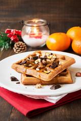 Homemade classic waffles for christmas breakfast