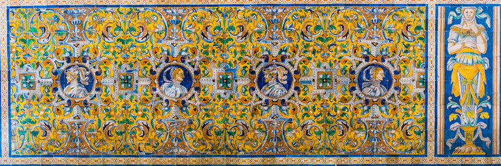 Wall Murals Imagination detail of a mosaic made of azulejos - tiles for which is andalusia region in spain famous, situated inside of the real alcazar palace in the spanish city sevilla.