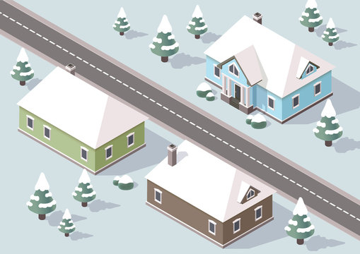 Isometric houses nearby the road