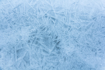 Abstract ice frost natural background with hoarfrost crystals.