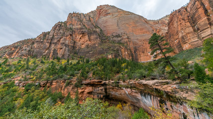 Amazing mountain landscape. A scenic view is seen from EMERALD POOLS TRAIL, Zion National Park, Utah, USA