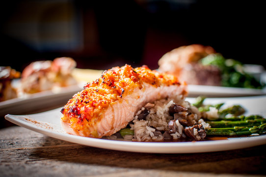 Crusted Salmon and Wild Rice Pilaf with Grilled Asparagus