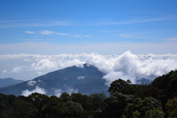 Blue Sky Thailand mountains in the mist and fog. Nature Sky Color.