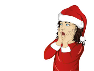 Wow. Girl in Santa Claus costume very surprised. Vector