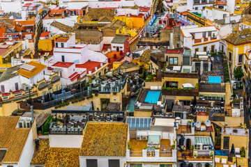 aerial view of the spanish city sevilla taken from top of the la giralda tower