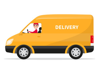 Vector cartoon delivery van truck with deliveryman