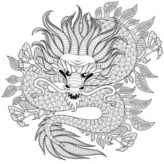 Chinese dragon in zentangle style for tatoo. Adult antistress coloring page. Black and white hand drawn doodle for coloring book
