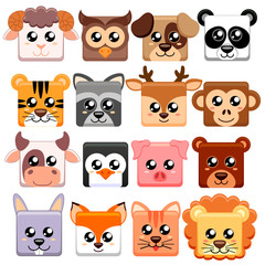 Cute cartoon animals head square shape.  Bear, cat, dog, pig, rabbit, cow, deer, lion, sheep, tiger, owl, panda, raccoon, monkey, penguin, hare, fox