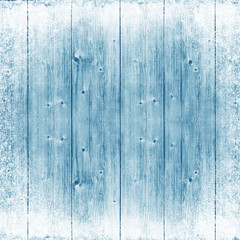 Blue wood texture. Ice and snow. Christmas background.