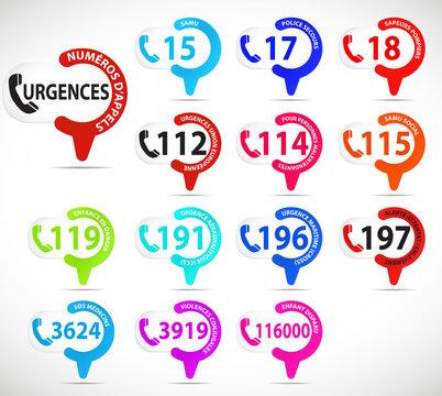 série de balises : numéros d'appel d'urgences