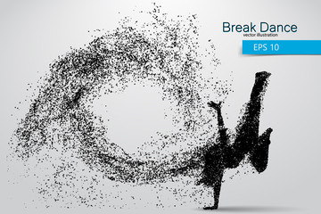 Silhouette of a break dancer from particles.