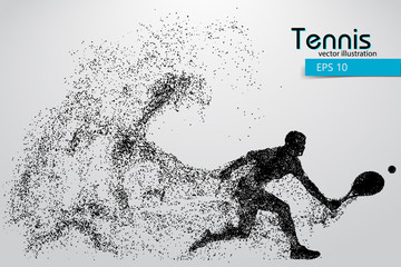 Silhouette of a tennis player from particles.