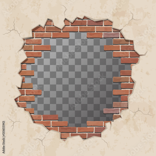 Red Broken Brick Wall With Hole Shabby Plaster And Shattered Brickwork Vector Illustration