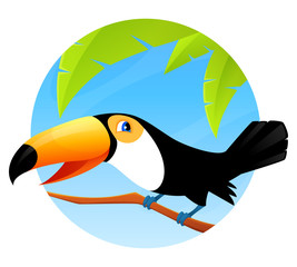 cute cartoon toucan sitting on branch