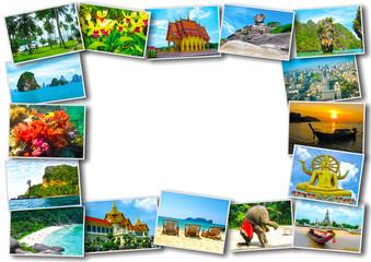 Thai travel tourism concept design - collage of Thailand images