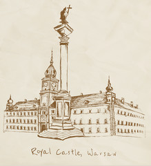 Hand drawn Royal Castle in Warsaw on vintage background