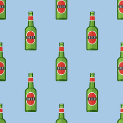Seamless pattern with green bottle of beer on blue background. Vector texture.