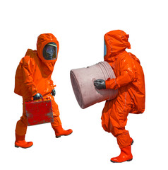 Isolated man in orange protective hazmat suit