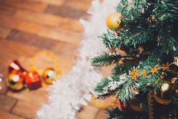 Christmas tree, DARK BACKGROUND,