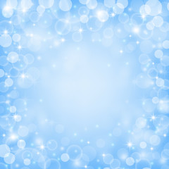 Fairy blue colored background with bokeh lights, stars and sparkles. Vector illustration.