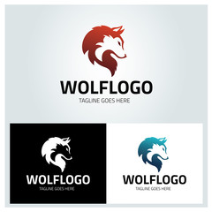 Wolf logo design template ,Wolf head logo ,Vector illustration
