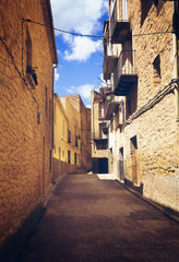 Narrow street at old spanish town.  Calaceite