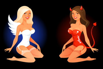 sexy cartoon pinup girl in angel or devil costume