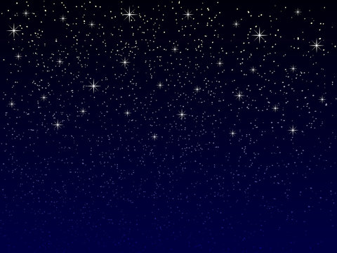 vector night sky with snowflakes and stars, suitable for christmas or new year greeting card, seasonal winter concept