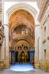 Arches and Pillars of the la Mezquita cathedral in Cordoba, Spain.