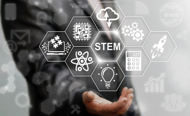 Business STEM concept. Science Technology Engineering Math education web icon. Man offer stem word sign on virtual screen.