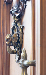 Сopper decorations in the form of a dragon on the door